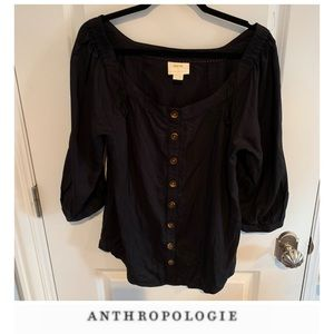 Anthropologie Maeve Black Button Down Blouse